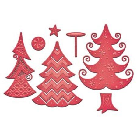 Spellbinders und Rayher Stempling og prægning stencil, jul motiv