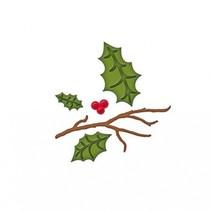 Stempling og prægning stencil, julemotiver grene