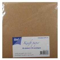Kraft Papier - Karte 13x13 / Umschlag 14x14 cm
