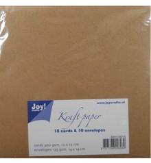KARTEN und Zubehör / Cards Kraft Papier - Karte 14x14 / Umschlag 15x15 cm