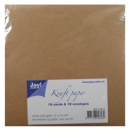 KARTEN und Zubehör / Cards Kraft Papier - Karte 13x13 / Umschlag 14x14 cm