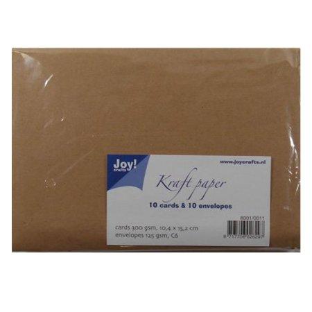 KARTEN und Zubehör / Cards Kraft Papier - Karte 10,4x15,2 / Umschlag C6