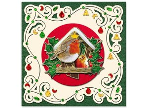Exlusiv Pre-printed images and embossed stickers, for 8 3D Christmas cards
