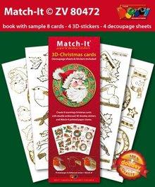 Exlusiv immagini prestampati e adesivi in rilievo, per 8 schede 3D di Natale