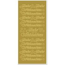Mærkat, Glædelig jul, store, guld-guld, format 10x23cm