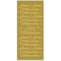 Sticker, Merry Christmas, big, gold-gold, format 10x23cm