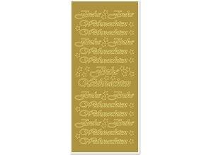 Sticker Mærkat, Glædelig jul, store, guld-guld, format 10x23cm