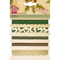 Set decorative ribbons, 5 x 1 mtr., Christmas motifs