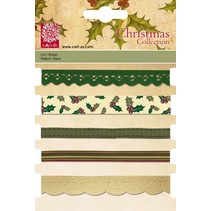 Set dekorative bånd, 5 x 1 mtr., Julemotiver