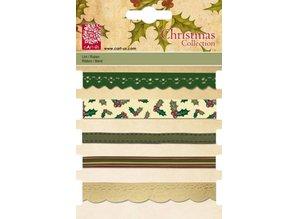 DEKOBAND / RIBBONS / RUBANS ... Set decorative ribbons, 5 x 1 mtr., Christmas motifs