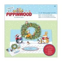 Bastelset: kort pack, linned tekstur - Pippi Wood julen