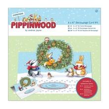 KARTEN und Zubehör / Cards Bastelset: carta pacco, struttura di tela - Pippi legno Natale
