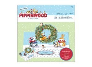 KARTEN und Zubehör / Cards Bastelset: kort pack, linned tekstur - Pippi Wood julen