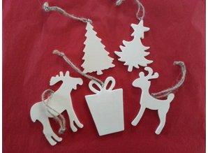 Objekten zum Dekorieren / objects for decorating 5 verschiedene Weihnachtsmotive aus Holz + 1 Schlitten aus holz EXTRA!