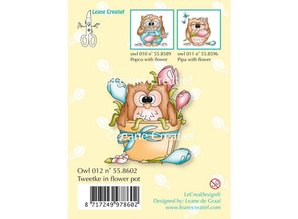 Leane Creatief - Lea'bilities Transparent stamps, little owl Tweetke in flower pot
