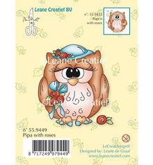 Leane Creatief - Lea'bilities Transparent stamps, owl Pipa with roses