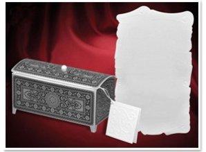 BASTELSETS / CRAFT KITS: Bastelset für 3 Schatztruhe, silber-schwarz, 140 x 60 x 70mm