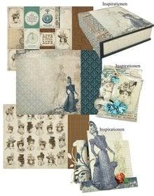 "Designer Papier Scrapbooking: 30,5 x 30,5 cm Papier 3 bue, designer papir ""Couture Collection Edition I"" Kaisercraft, 30,5 x 30,5 cm + 1 baggrundskort"