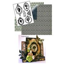 Set: Transparent Stempel, Silhouette + 2 Bögen Designerpapier + 2 Basiskarten!
