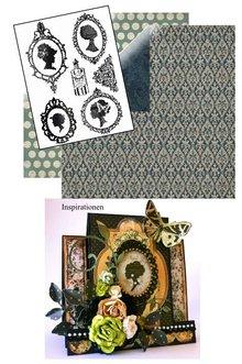 Designer Papier Scrapbooking: 30,5 x 30,5 cm Papier Set: Transparent Stempel, Silhouette + 2 Bögen Designerpapier + 2 Basiskarten!