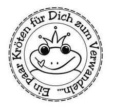 """Stempel / Stamp: Holz / Wood Butterer stamp """"toads to Transform"""", 3cm ø"""