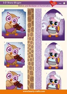 ... borders in combination owls 1 pack 1 punched sheets a4 250g size a4 30
