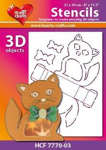 Schablonen und Zubehör für verschiedene Techniken / Templates Plastic Mask 3D kat, størrelse: 21 x 30 cm