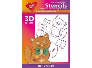 Schablonen und Zubehör für verschiedene Techniken / Templates Máscara de plástico gato 3D, tamaño: 21 x 30 cm