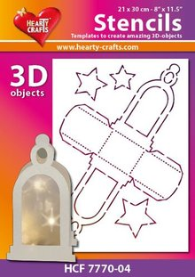 Schablonen, für verschiedene Techniken / Templates Plastik Schablone 3D Laterne, Größe: 21 x 30 cm