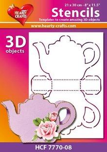 Schablonen und Zubehör für verschiedene Techniken / Templates Plastic Mask 3D coffee or tea pot, size: 21 x 30 cm
