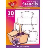 Schablonen und Zubehör für verschiedene Techniken / Templates Plastic Mask 3D kurv, størrelse: 21 x 30 cm