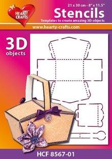 Schablonen und Zubehör für verschiedene Techniken / Templates Plastic Mask 3D basket, size: 21 x 30 cm