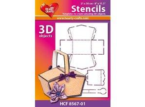 Schablonen und Zubehör für verschiedene Techniken / Templates Plastik Schablone 3D Korb , Größe: 21 x 30 cm