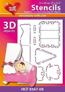 Schablonen, für verschiedene Techniken / Templates Plastik Schablone 3D Wiege , Größe: 21 x 30 cm