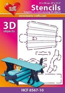 Schablonen, für verschiedene Techniken / Templates Plastik Schablone 3D Flugzeug , Größe: 21 x 30 cm