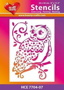 Schablonen und Zubehör für verschiedene Techniken / Templates Plastic mask owl, Size: 21 x 30 cm