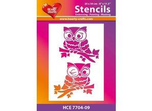 Schablonen und Zubehör für verschiedene Techniken / Templates Plastic template with 2 owls, size: 21 x 30 cm