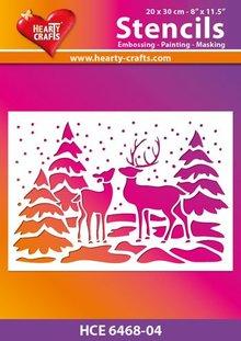 Schablonen und Zubehör für verschiedene Techniken / Templates Plastic mask winter landscape, size: 21 x 30 cm