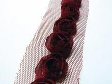 DEKOBAND / RIBBONS / RUBANS ... Floretes en tulband, rojo oscuro