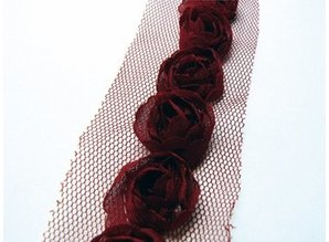 DEKOBAND / RIBBONS / RUBANS ... Florets on Tulband, dark red