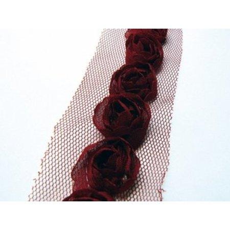 DEKOBAND / RIBBONS / RUBANS ... Buketter på Tulband, mørk rød