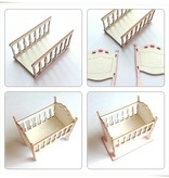 Embellishments / Verzierungen Laser cut Chipboards: 3D Wiege / Bett mit Baby Accesoires