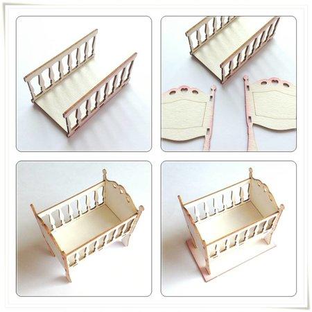 Embellishments / Verzierungen Laser cut spånplade: 3D vugge / seng med Baby tilbehør