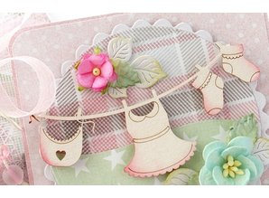 Embellishments / Verzierungen Laser cut chipboards: 3D cradle / bed with baby accessories