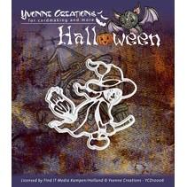 """Ponsen en embossing masker, Halloween """"een heks"""""""