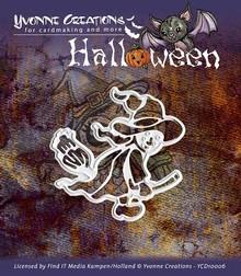 """Yvonne Creations Stanz- und Prägeschablone, Halloween """"eine Hexe"""""""
