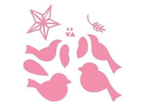 Marianne Design Stempling og prægning stencil, Samlerobjekter, fugle med stjerne og gren