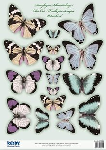 Embellishments / Verzierungen 2 die cut sheet, with more than 30 butterflies