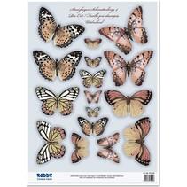 2 sterven losse vellen, met meer dan 30 vlinders