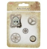 Embellishments / Verzierungen Metal Charms Set Car Vintage, 5 dele